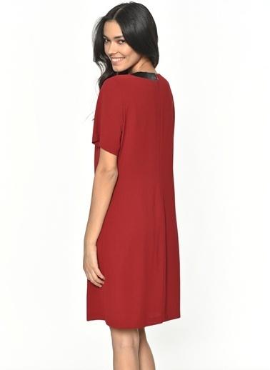 Limon Company Deri Yaka Detaylı Diz Üstü Kadın Elbise Bordo